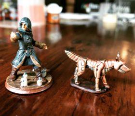 Bomarr, the wood elf monk and his clockwork dog, Kowaki.