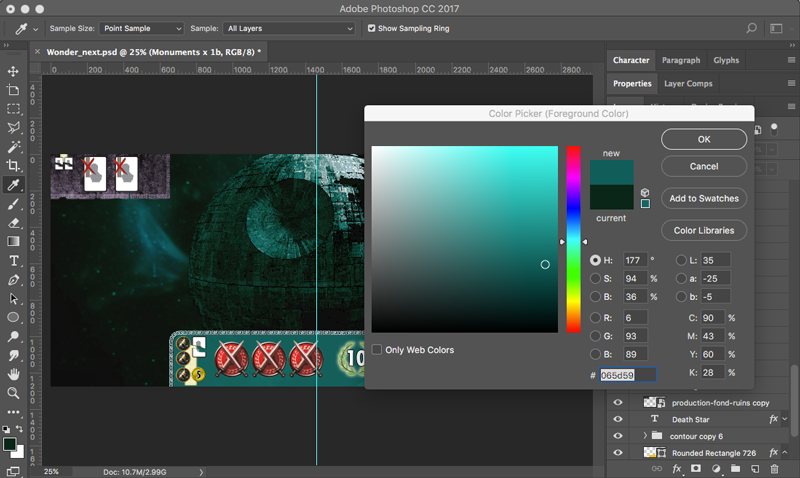 Using the Photoshop Color Picker tool.