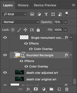Blending Options Effects in the Layers panel.