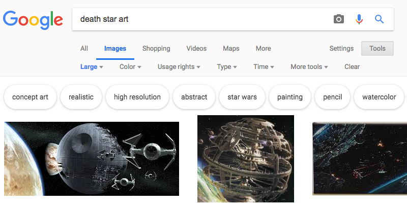Use your Google Image search filters wisely!